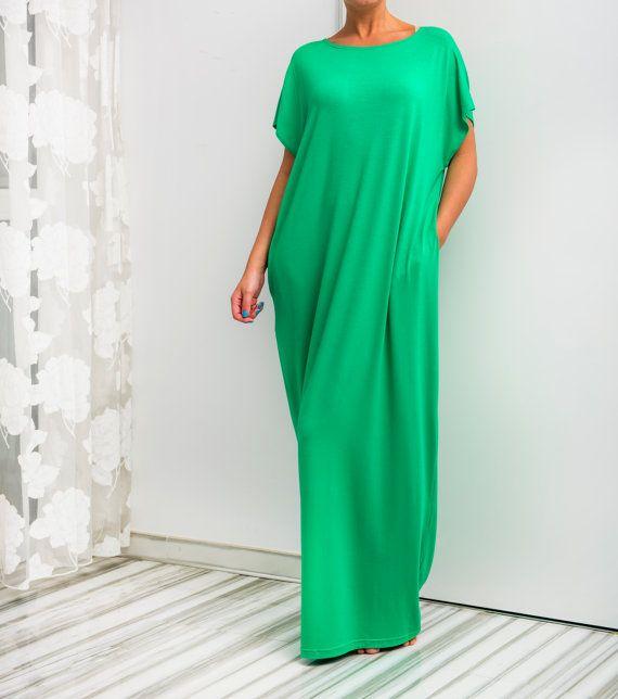 Green Maxi Dress Caftan Abaya Summer Dress Green Plus Size Dress