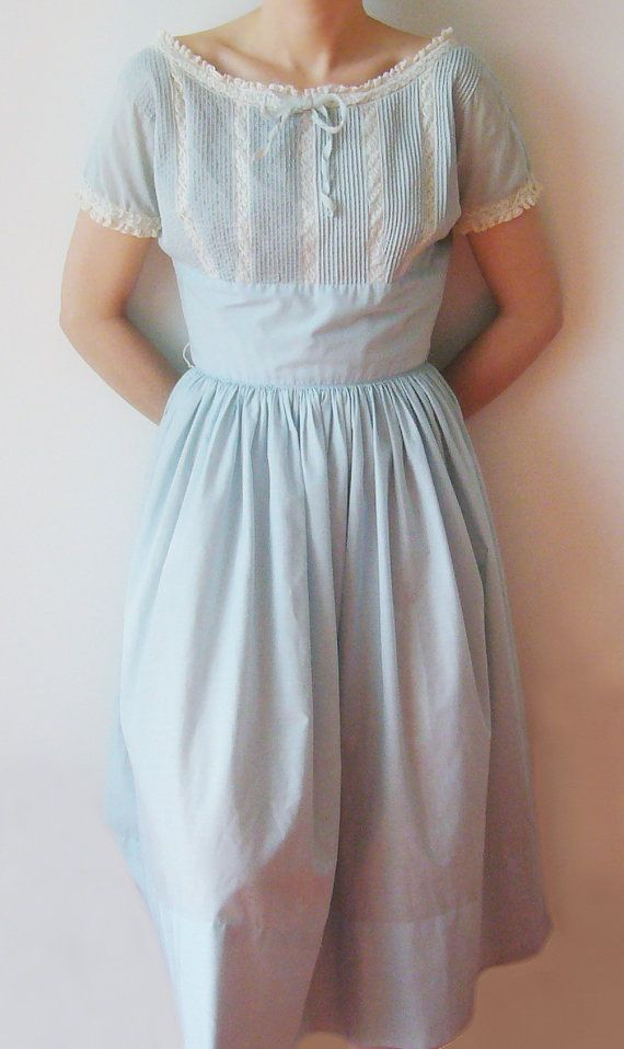 40s 50s Blue Cotton Day Dress Vintage by KingArtsAndVintage