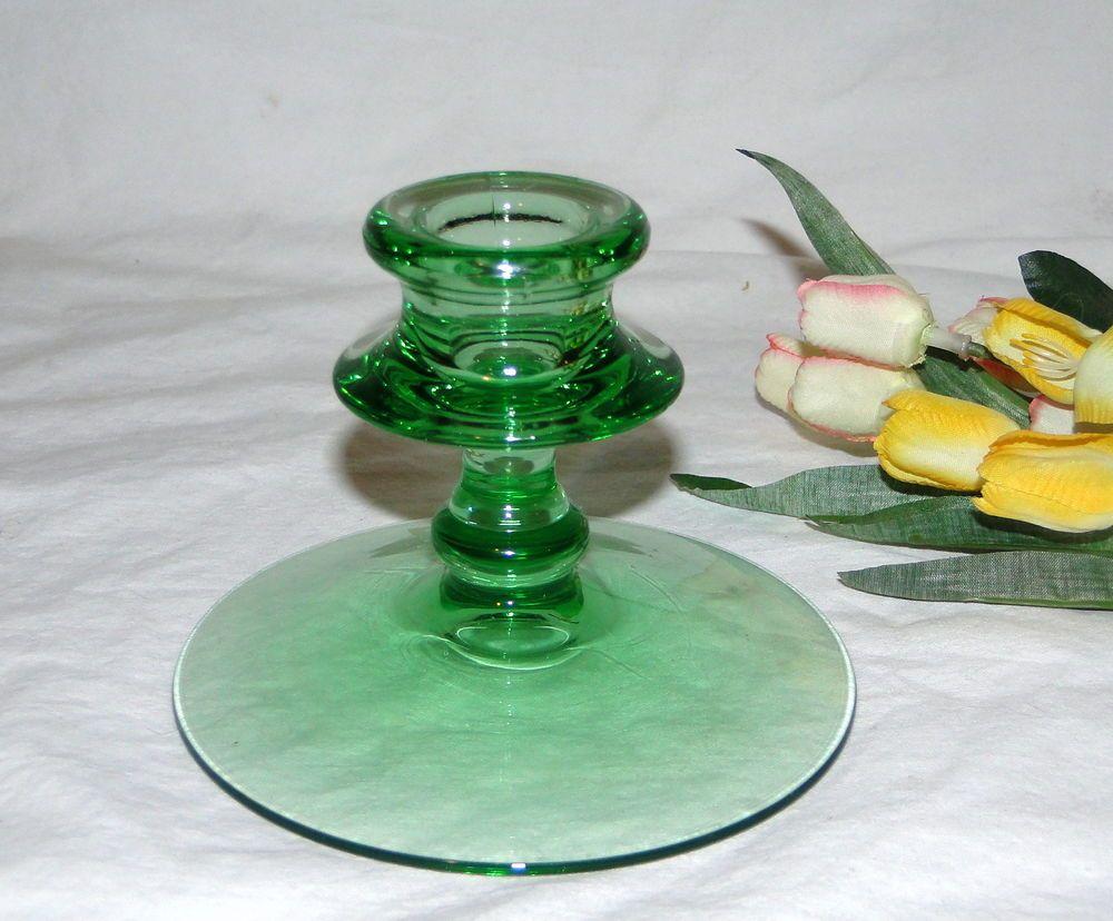 Vintage Depression Green Emerald Green Candlestick Candle HolderC4