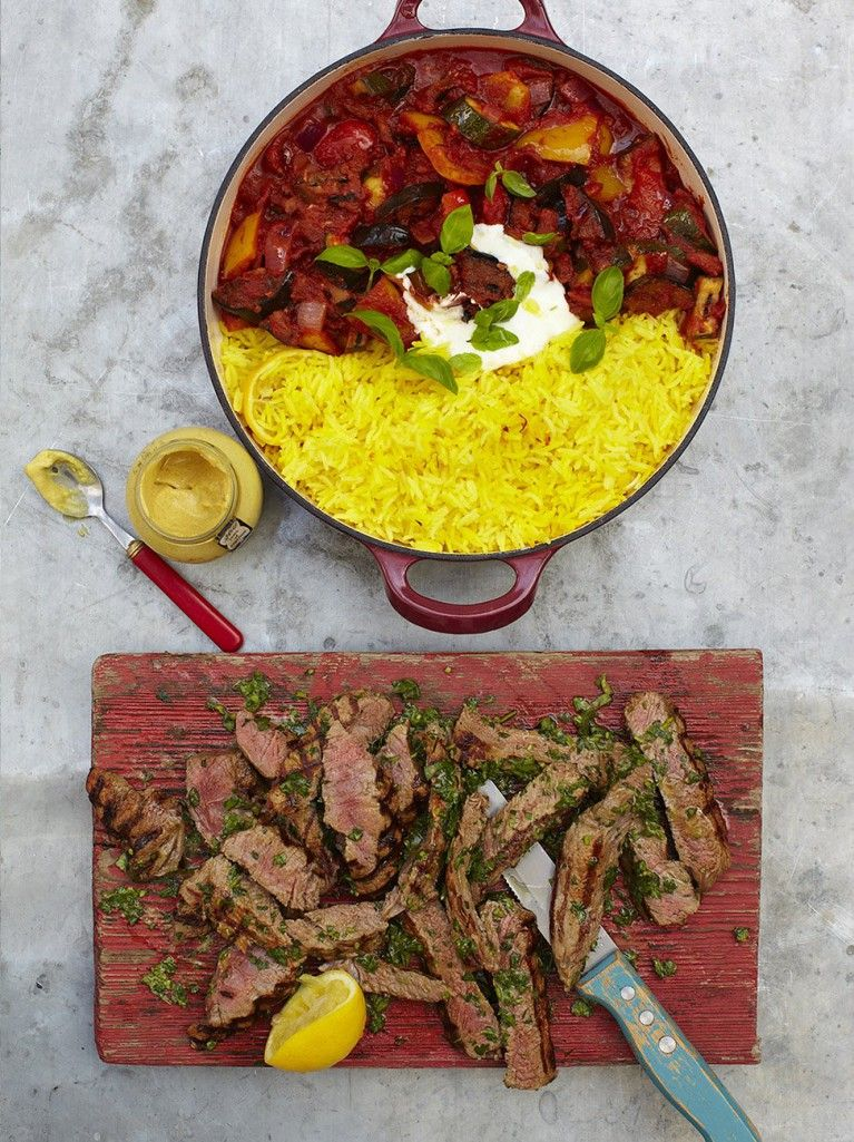Grilled steak ratatouille \ saffron rice Recipe Saffron rice - 15 minuten küche