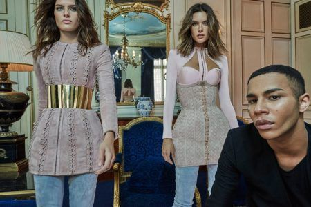 Models Isabeli Fontana and Alessandra Ambrosio poses for pictures with Balmain creative director, Olivier Rousteing.
