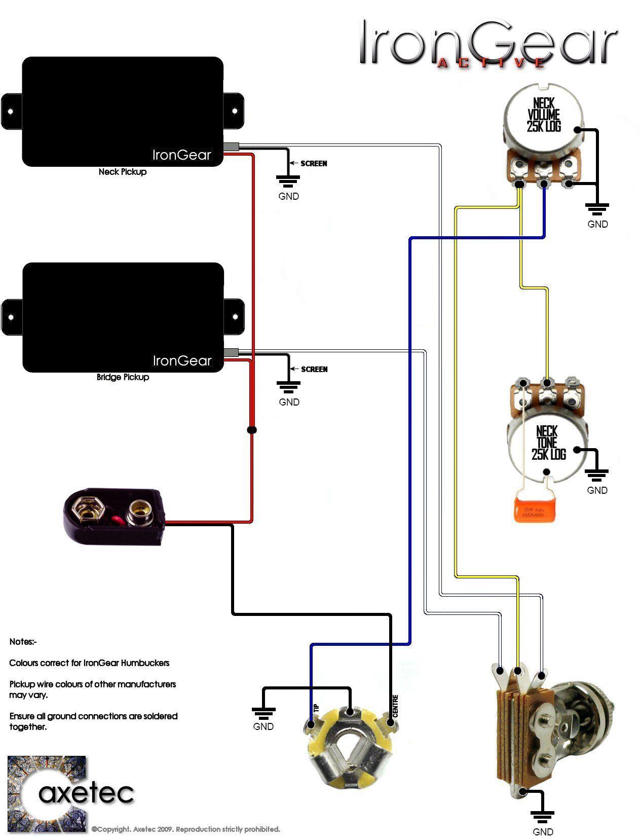 Guitar Wiring Diagram 2 Humbucker 1 Volume 1 Tone Volovets Info