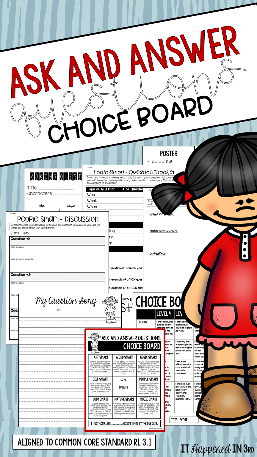 ask and answer questions choice board tpt products you will love