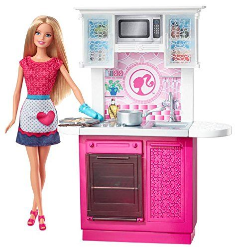 Amazon Com Barbie Doll And Kitchen Furniture Set Toys Games Barbie Dolls Barbie Playsets Barbie Kitchen