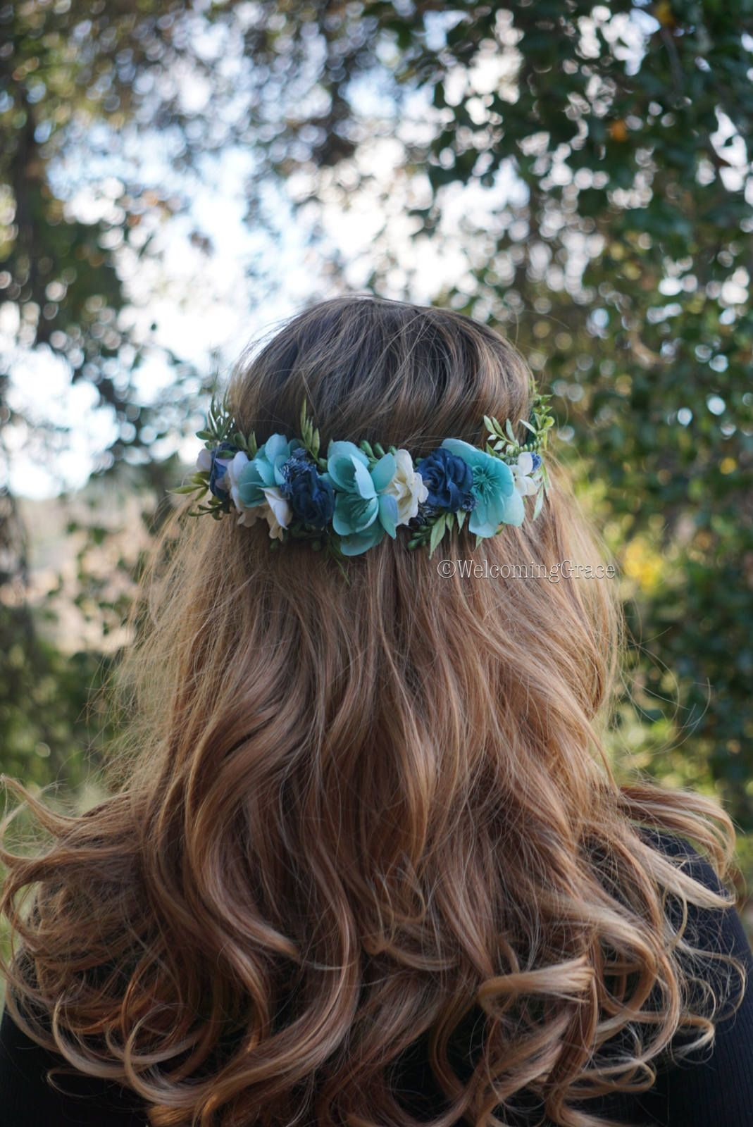Blue flower crown teal floral crown navy flower crown ivory blue flower crown teal floral crown navy flower crown ivory floral crown wedding izmirmasajfo