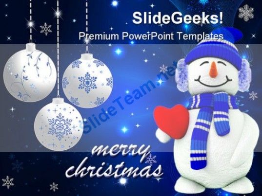 Snowman Christmas Holidays Powerpoint Template  Powerpoint