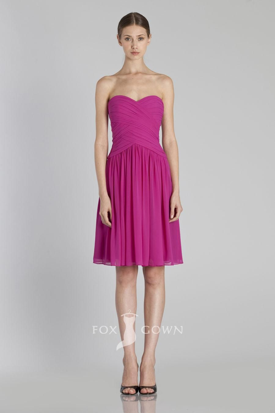 strapless chiffon a-line short magenta bridesmaid dress | Lovely ...