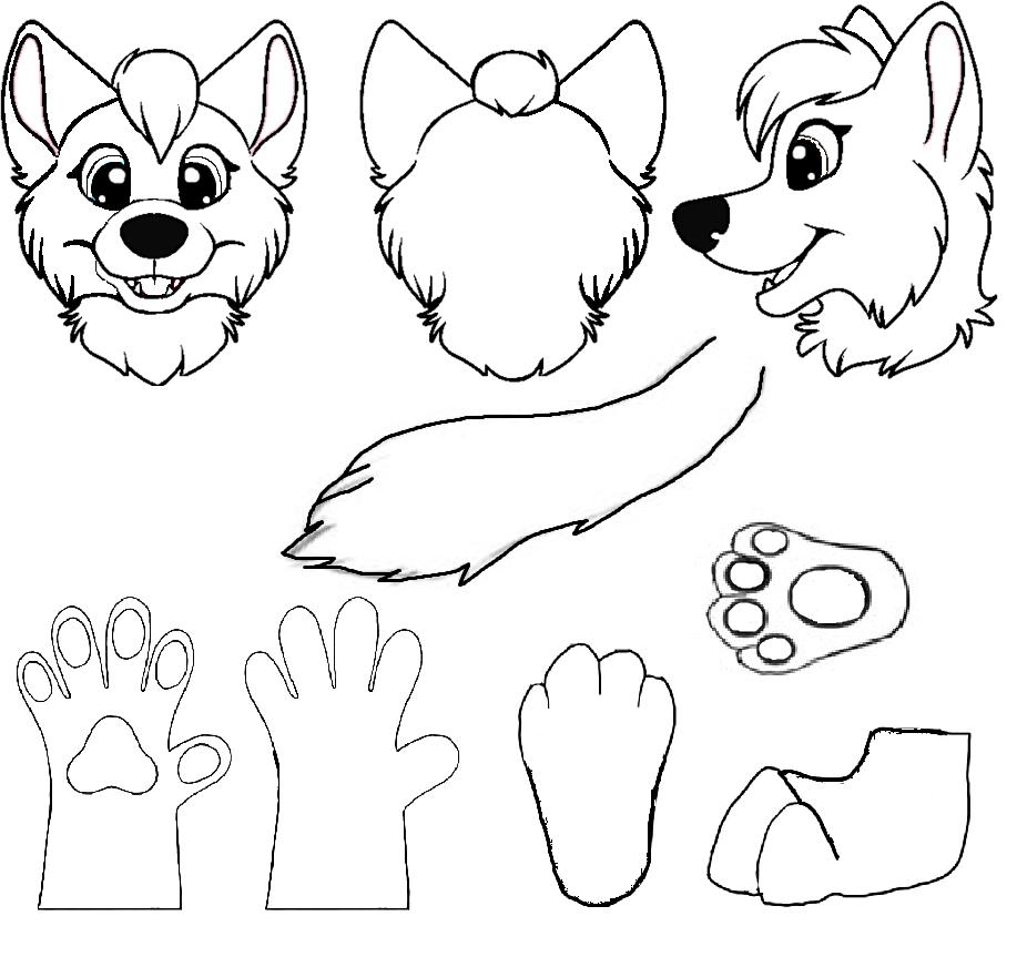 Partial Fursuit Reference Sheet Furry Drawing Furry Art Fursuit Paws