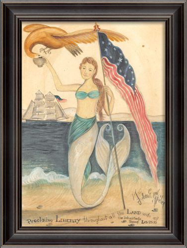 Framed Proclaim Liberty Mermaid Wall Art