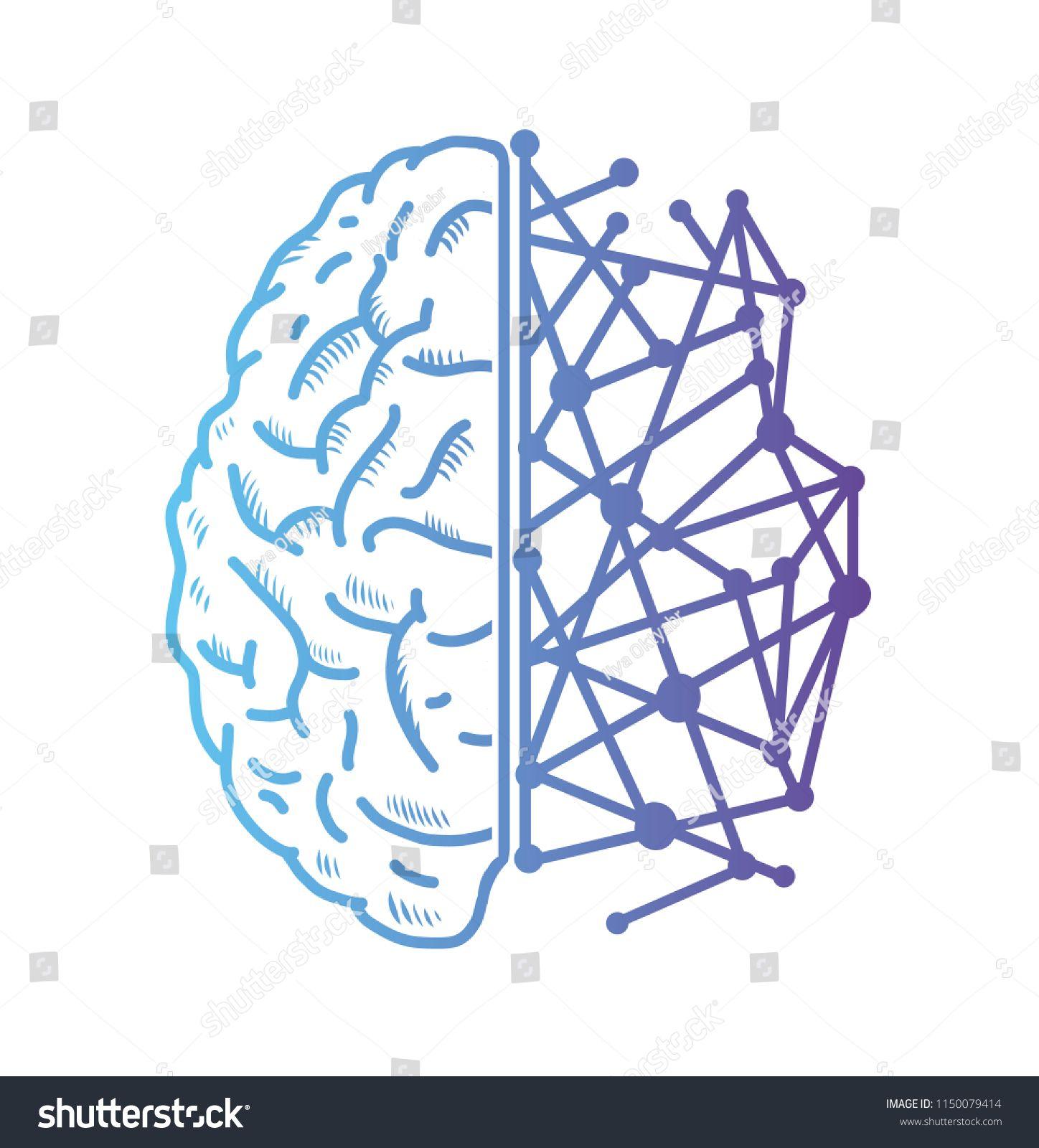 Artificial intelligence icon brain. Vector illustration