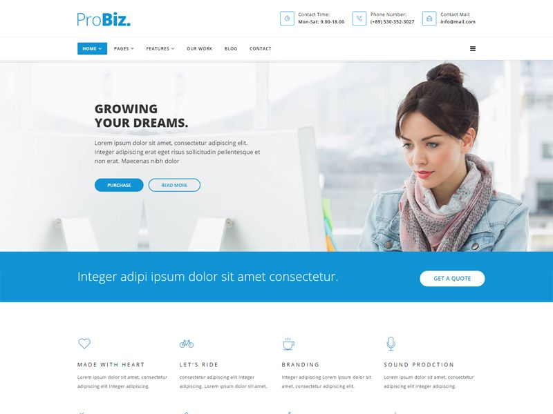 ProBiz is a business free HTML template designed Multiple business .The Template comes with an awesome design also we ensure you can easily design your website just how you like it. Get it for FREE and explore it's excellent features right now!