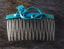 Vintage Hair Comb Perching Owl Blue Topper CLear Comb Hair Accessory : Want more? https://bitly.com/showmemorepls