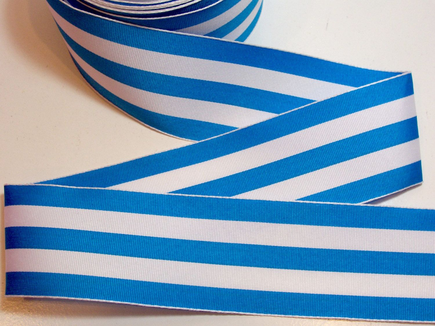 Wired Ribbon, Medium Blue and White Stripe Grosgrain Wired Fabric ...