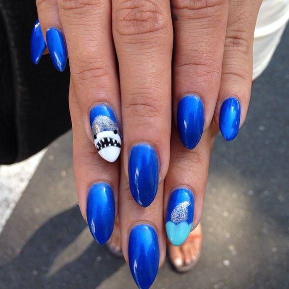 55 Killer Shark Nail Designs Nail Art Pinterest Nail Designs