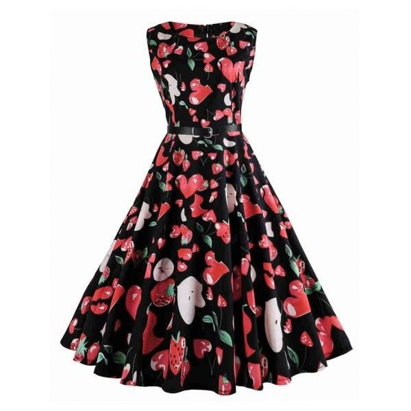 Strawberry Print Sleeveless Vintage Dress Black 2xl (325 MXN) ❤ liked on Polyvore featuring dresses