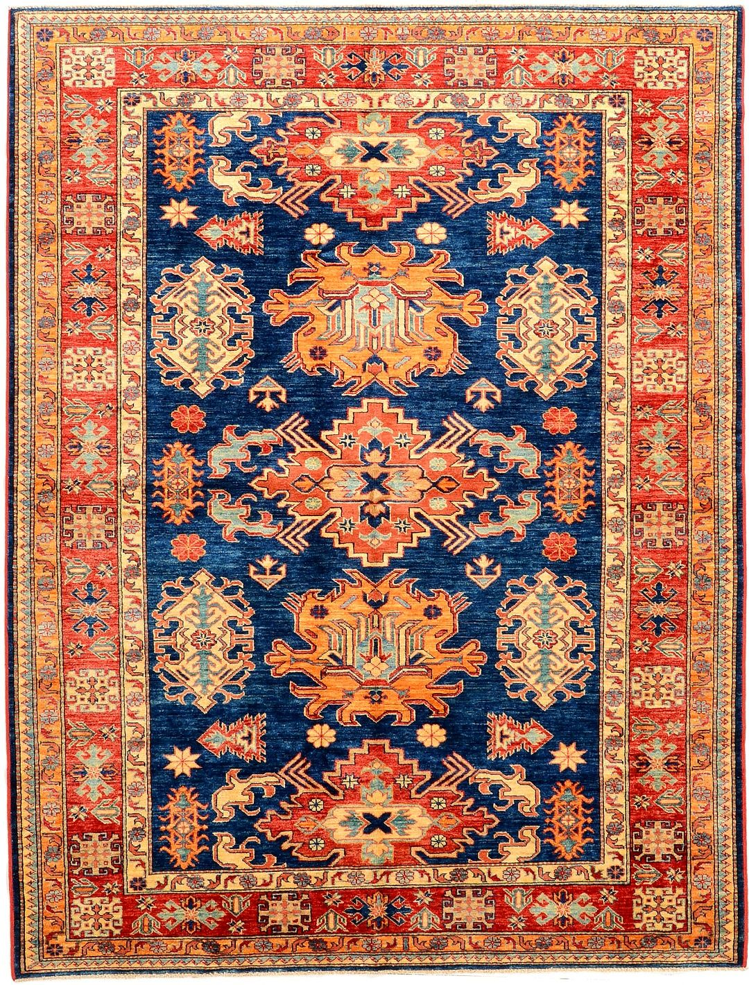 Peach and Navy Geometric Kazak Rug #Orientalrugs # ...