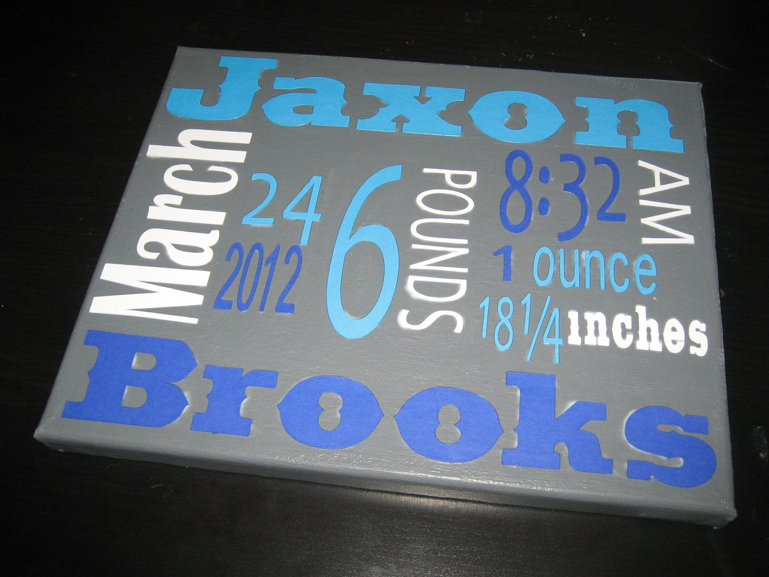 Baby Boy Canvas Birth Story Announcement 2700 Via Etsy