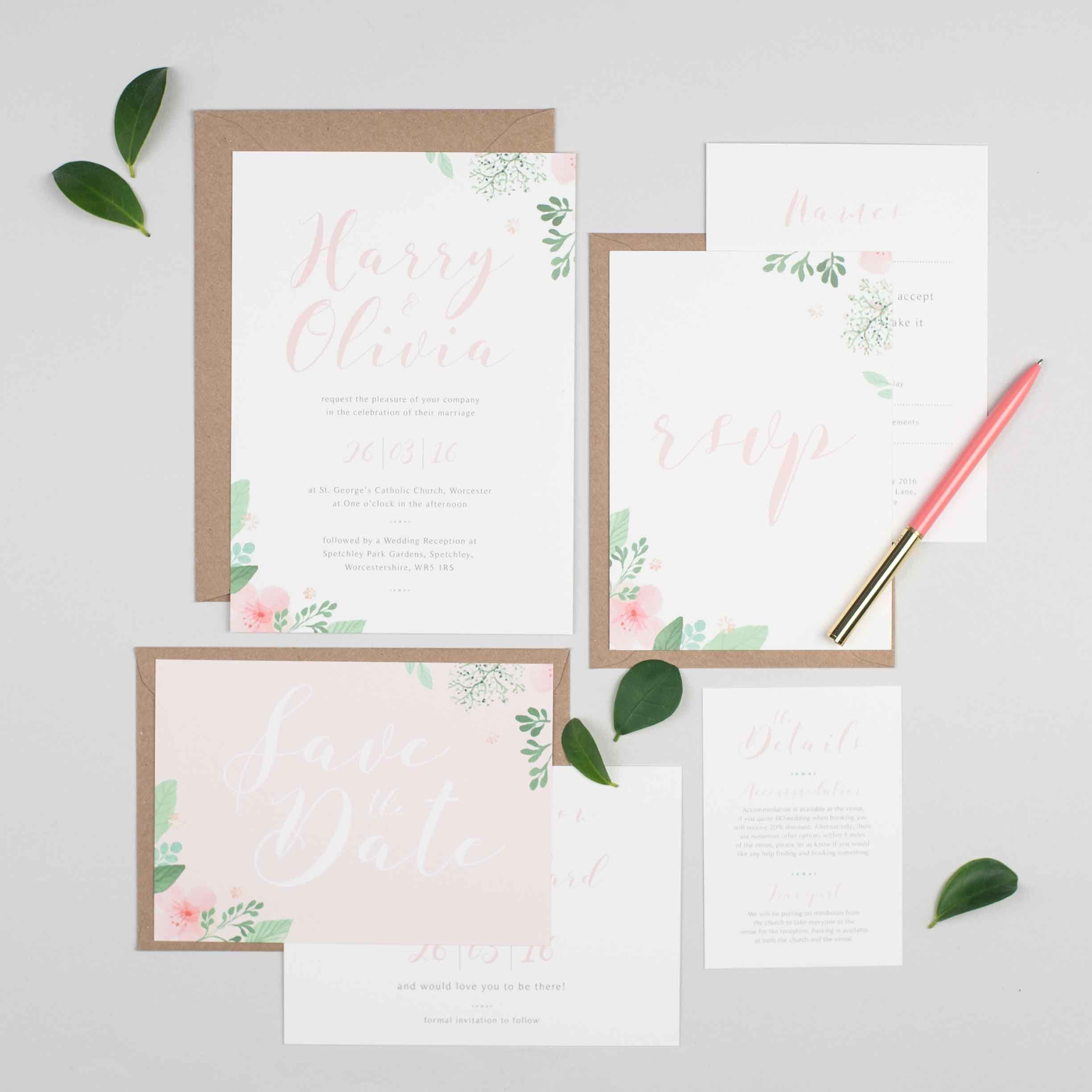 Floral Wedding Invitation Suite | Wedding Invite | Floral Wedding ...