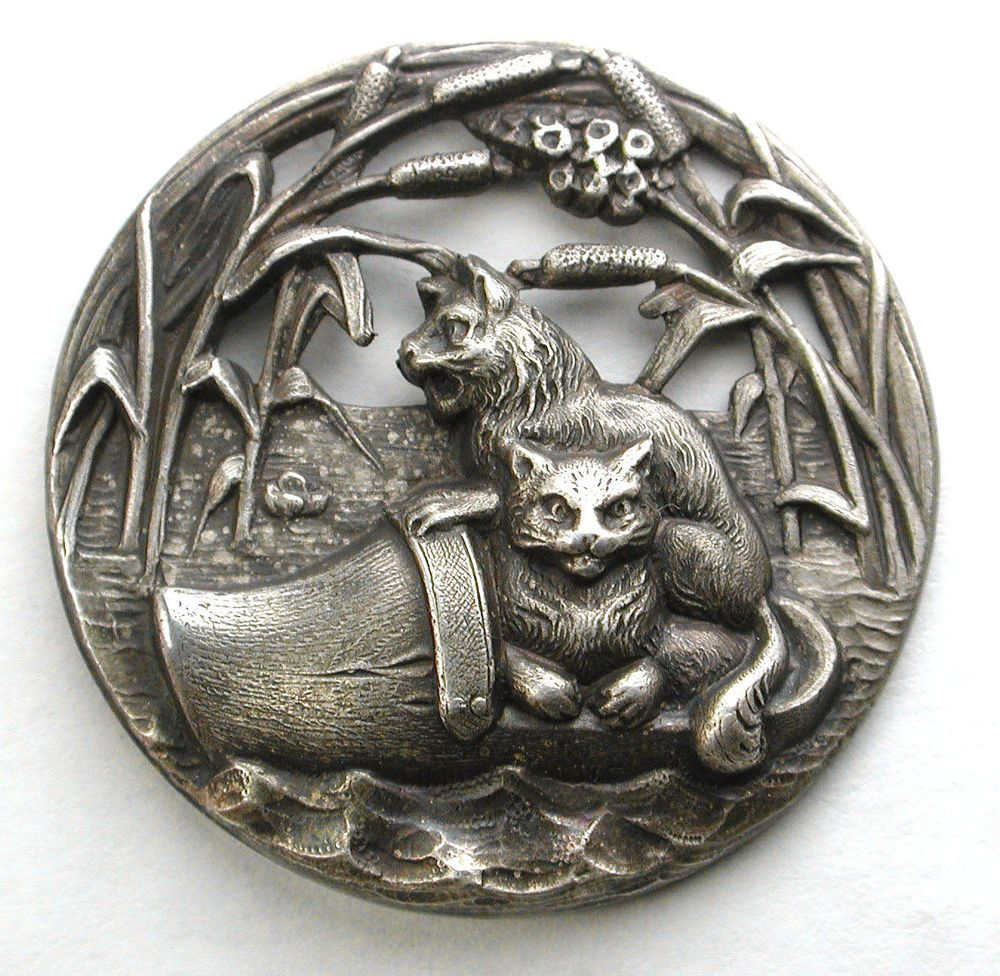 Old French Metal Button Pierced Design Two cats in a Floating Wooden Shoe Lg Sz