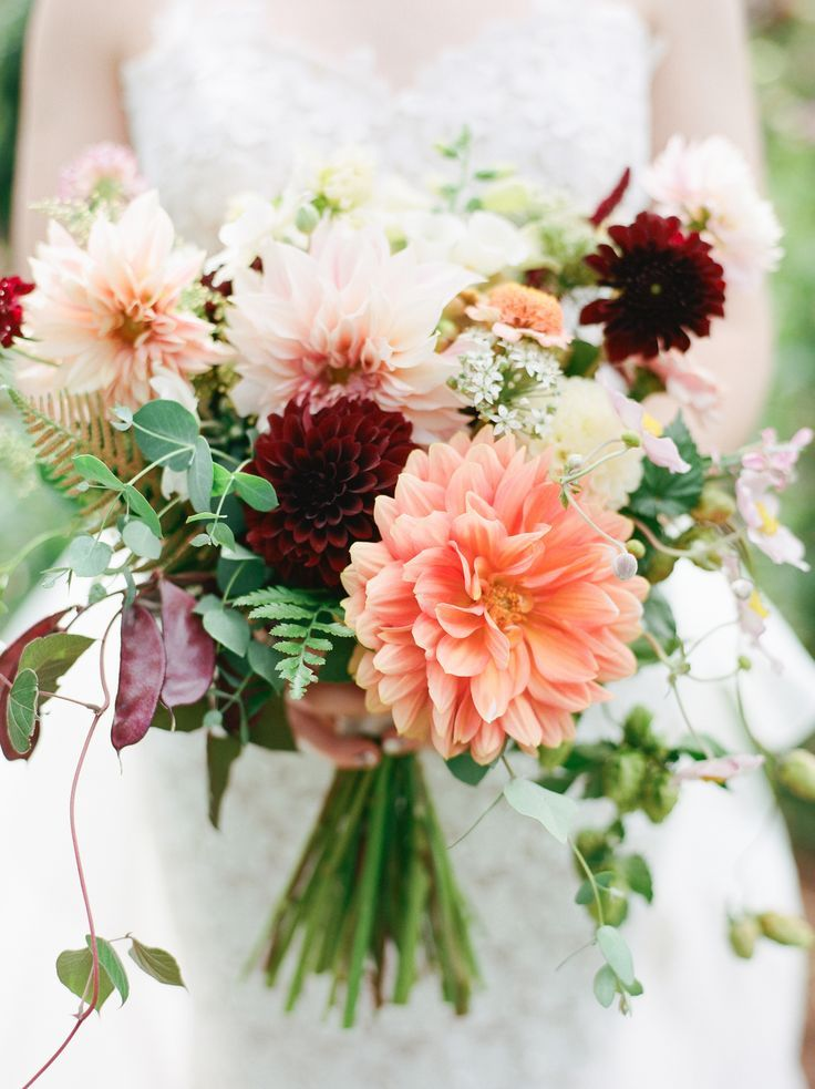 Late summer or early fall wedding featuring peach, cafe au lait, and deep red dahlia bridal bouquet with hops, japanese anemone, and sweet pea.  PNW, Oregon, Destination film wedding photography | Simply Splendid by Marla Cyree #fallbridalbouquets