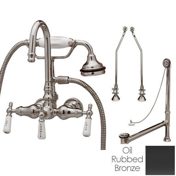 Clawfoot Tub Wall Mount Gooseneck Faucet With Handshower Tub