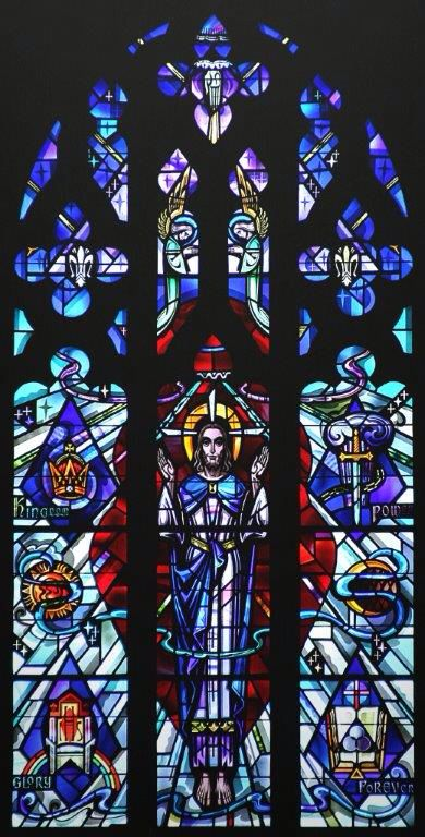 Stained glass window in front of Immanuel Ev. Lutheran Church, Watertown, WI - picture by Carl Matson