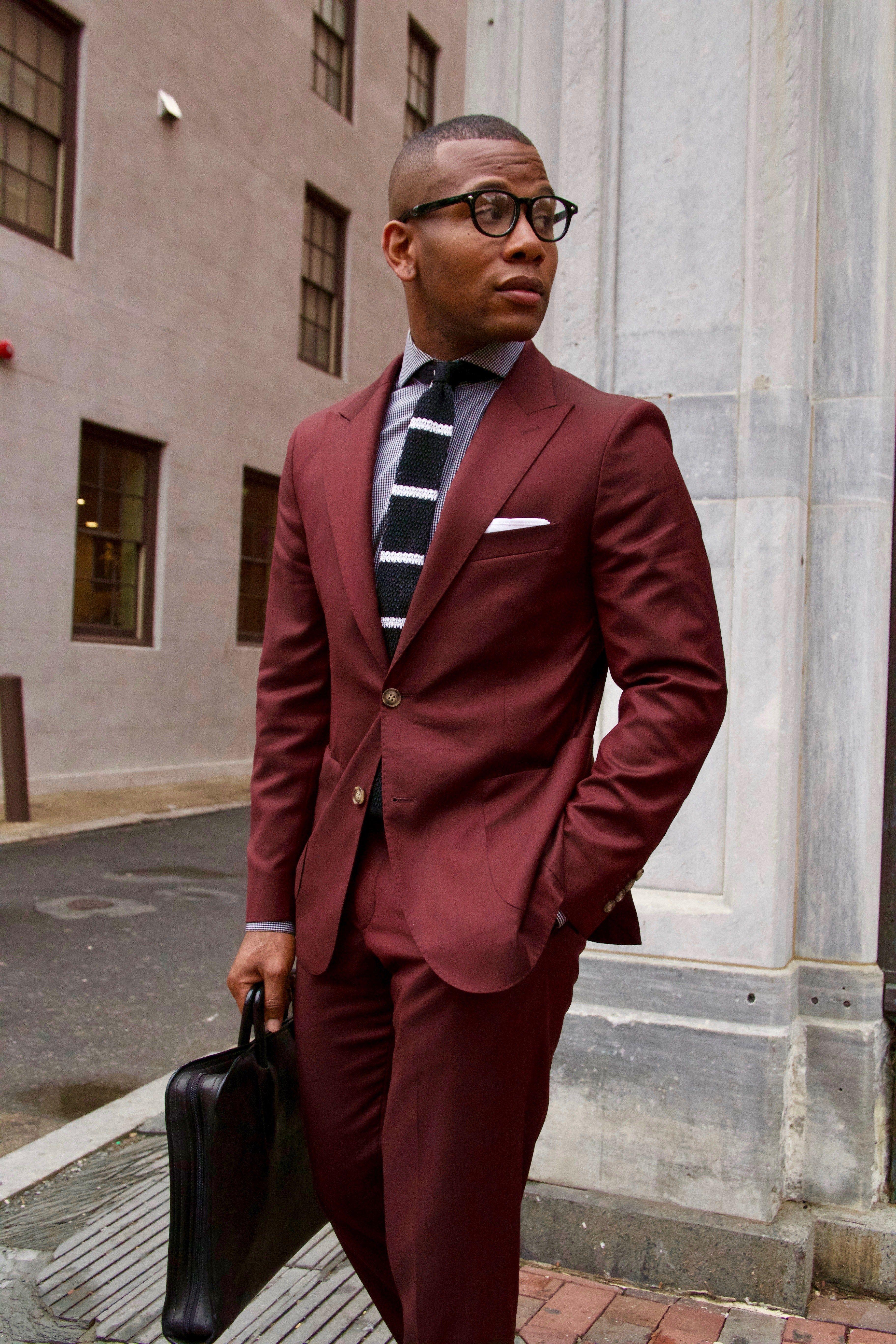 Burgundy Suit Mini Check Shirt Striped Knit Tie