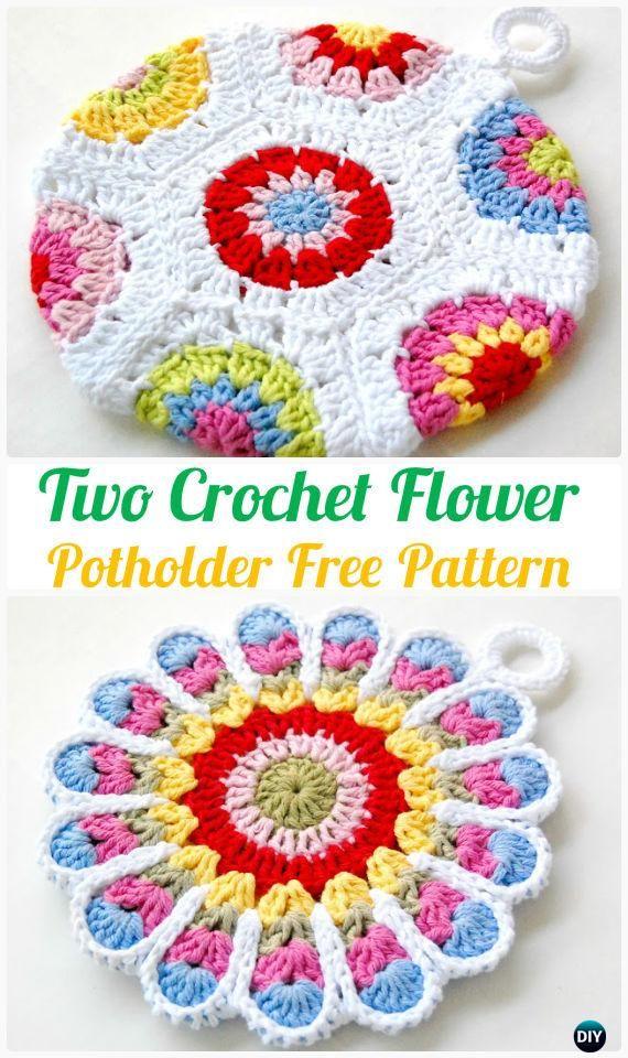 Crochet Pot Holder Hotpad Free Patterns | Agarraderas, Flores ...