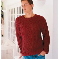 Lovely Mens Cabled Crewneck Sweater From Vogue Knitting Knitting