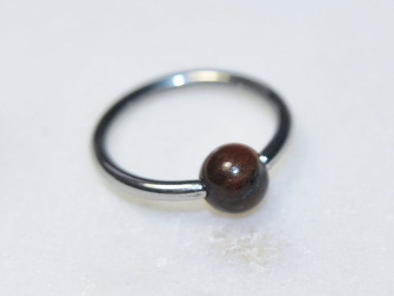 526976d3ba0 Red Tiger Eye Gemstone Captive Bead Ring in Steel, 16g and 14g ...