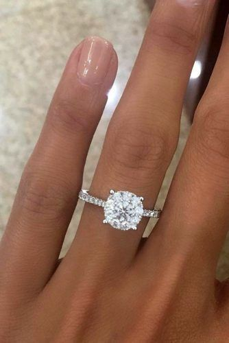 Round Engagement Rings Best Simple Diamond Ring Pave Band