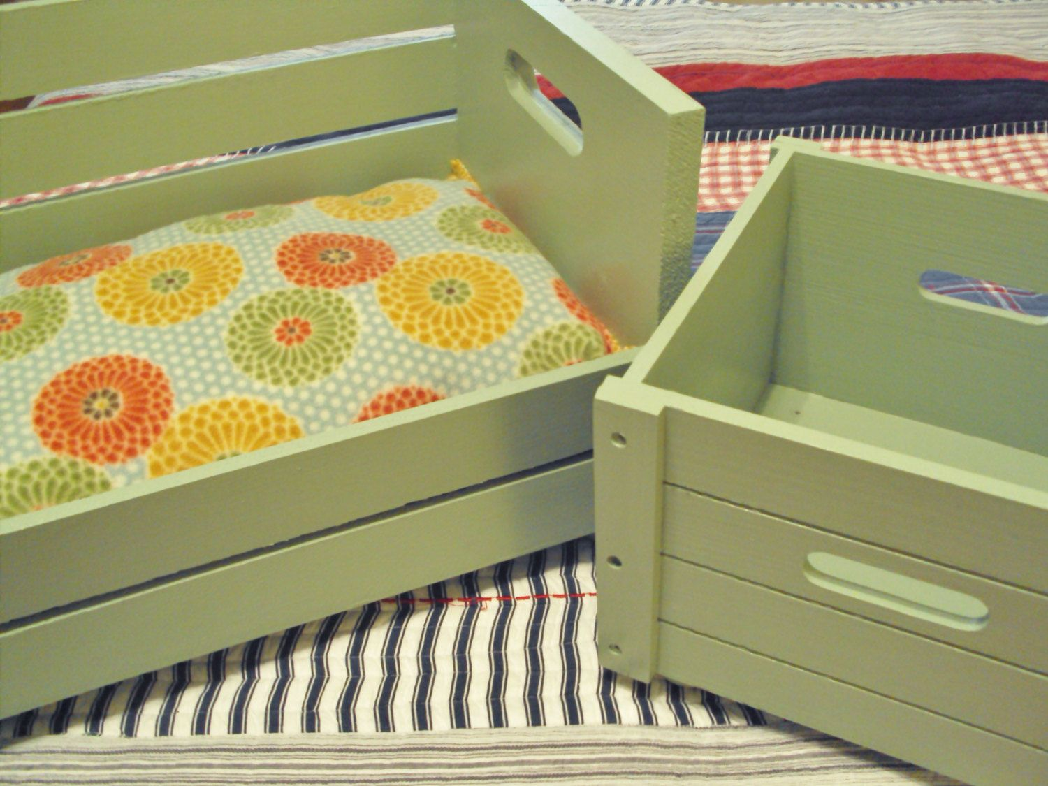 PET BED and Toy Box combo Recycled pampered pets gift Animal Lovers wood crates 2 items for 1 price. $55.00, via Etsy.