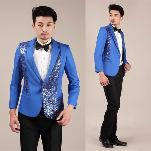 Men 3 Piece Royal Blue Slim Fit Sequin Wedding Prom Tuxedo Dress ...