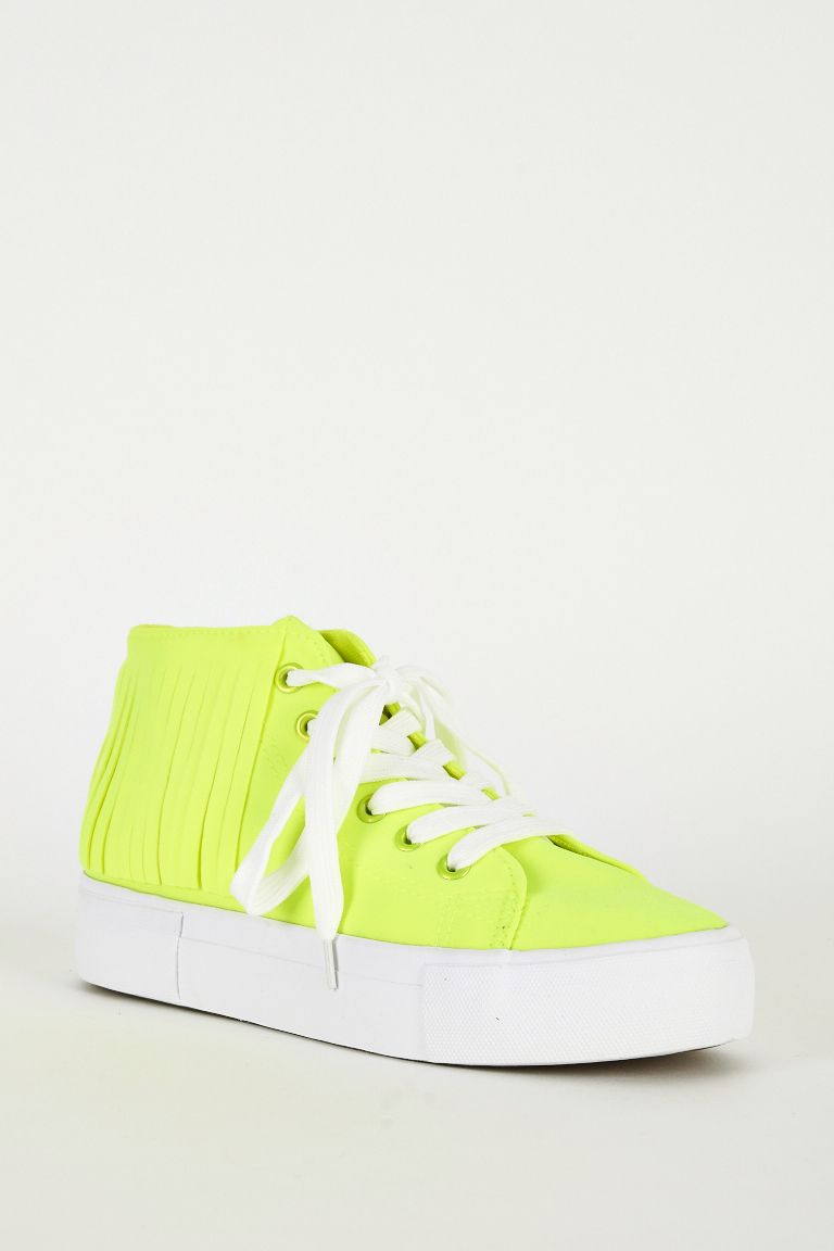 Women Fluorescent Yellow Fringe Detail High Top Trainer Padded Insole Synthetic