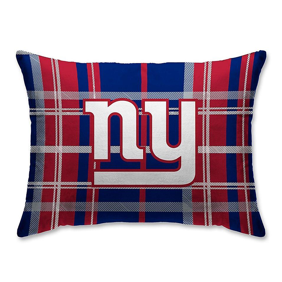 Nfl New York Giants Plaid Velvet And Sherpa Oblong Throw Pillow