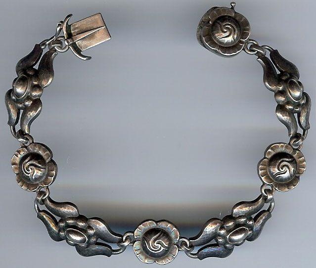 Early Georg Jensen Denmark Vintage Sterling Silver Flowers Bracelet Silver Flower Bracelet Scandinavian Jewelry Sterling Silver Flowers