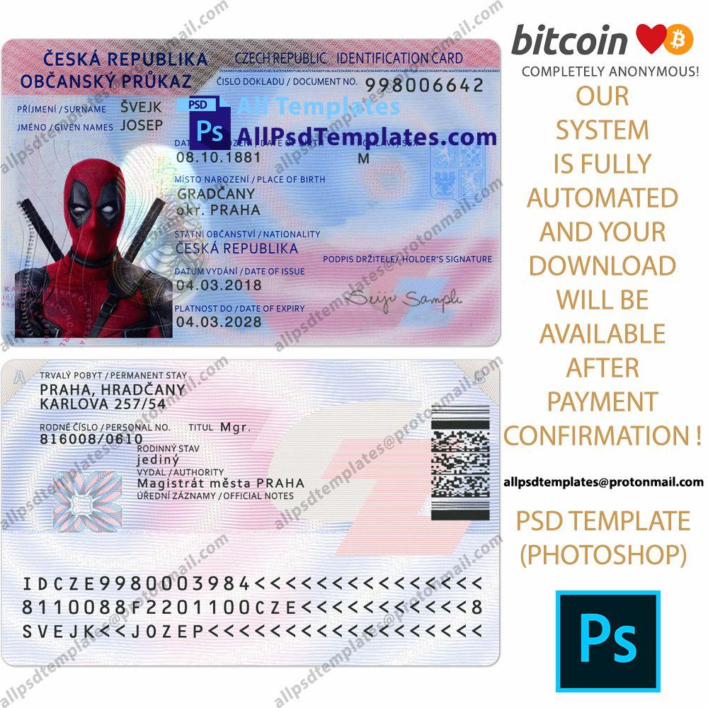 Czech Id Card Template Id Card Template Card Template Psd Templates