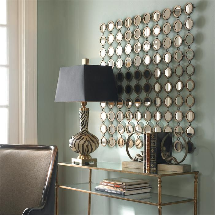 Small Round Mirrors joined by hand forged metal; antiqued silver ...