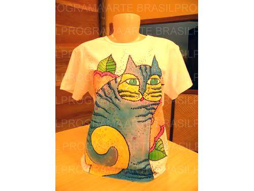 Arte Brasil   Pintura+de+Gato+em+Camiseta - Vera+Isoyama