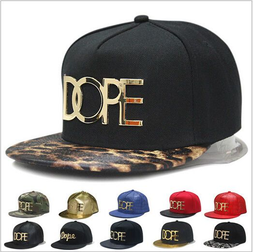 NEW Faux Leather Gold Dope Flat Bill Cap Hiphop Dancer Sn..