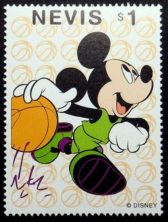 Mickey Mouse Playing Basketball Cartoon Walt Disney Handmade Framed Postage Stamp Art 19388