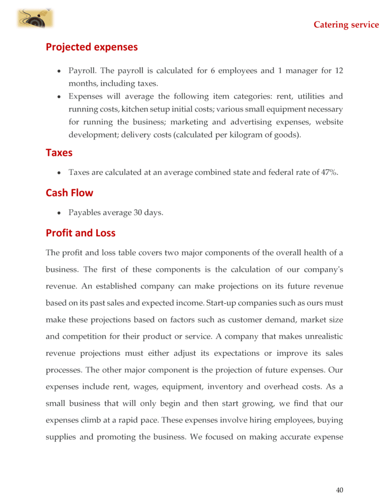 Catering Business Plan Template Sample Pages Starting A
