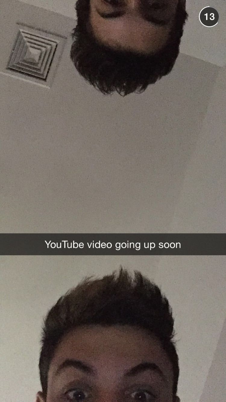 Dolan twins...you see eyes and eyebrows on one side them you just see eyebrows