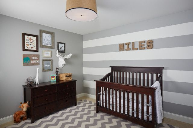 Grey Chevron Rug Nursery Traditional With Accent Walls Dark Brown Wood Crib Gray