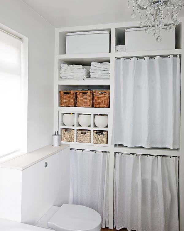 organização banheiro prateleiras, estante, cesto palha ACHADOS DE DECORAÇÃO  -> Decoracao Banheiro Cestos