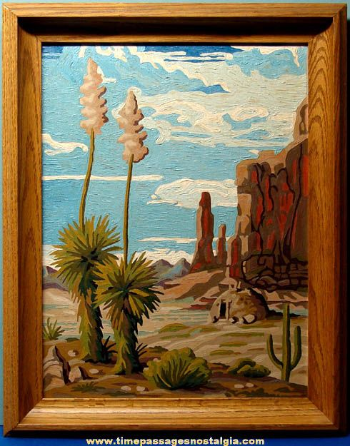 Large Old Framed Paint By Numbers American Desert Scene Painting Painting Paint By Number Vintage Vintage Painting