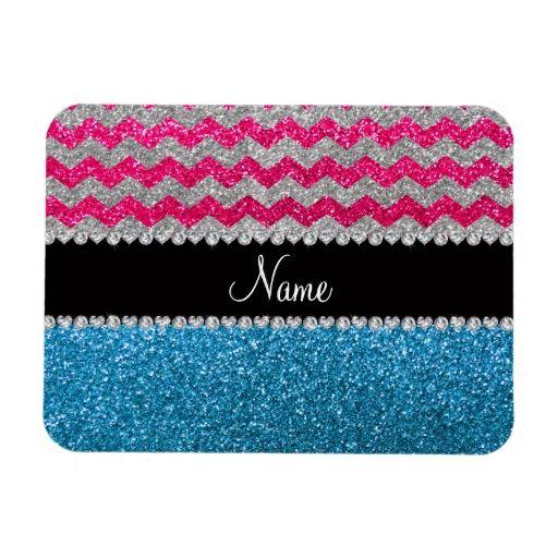 Custom name sky blue glitter pink glitter chevrons vinyl magnets