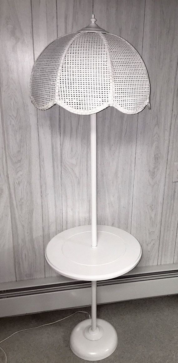Vintage White Wicker Floor Table Lamp A R Eclectics Pinterest
