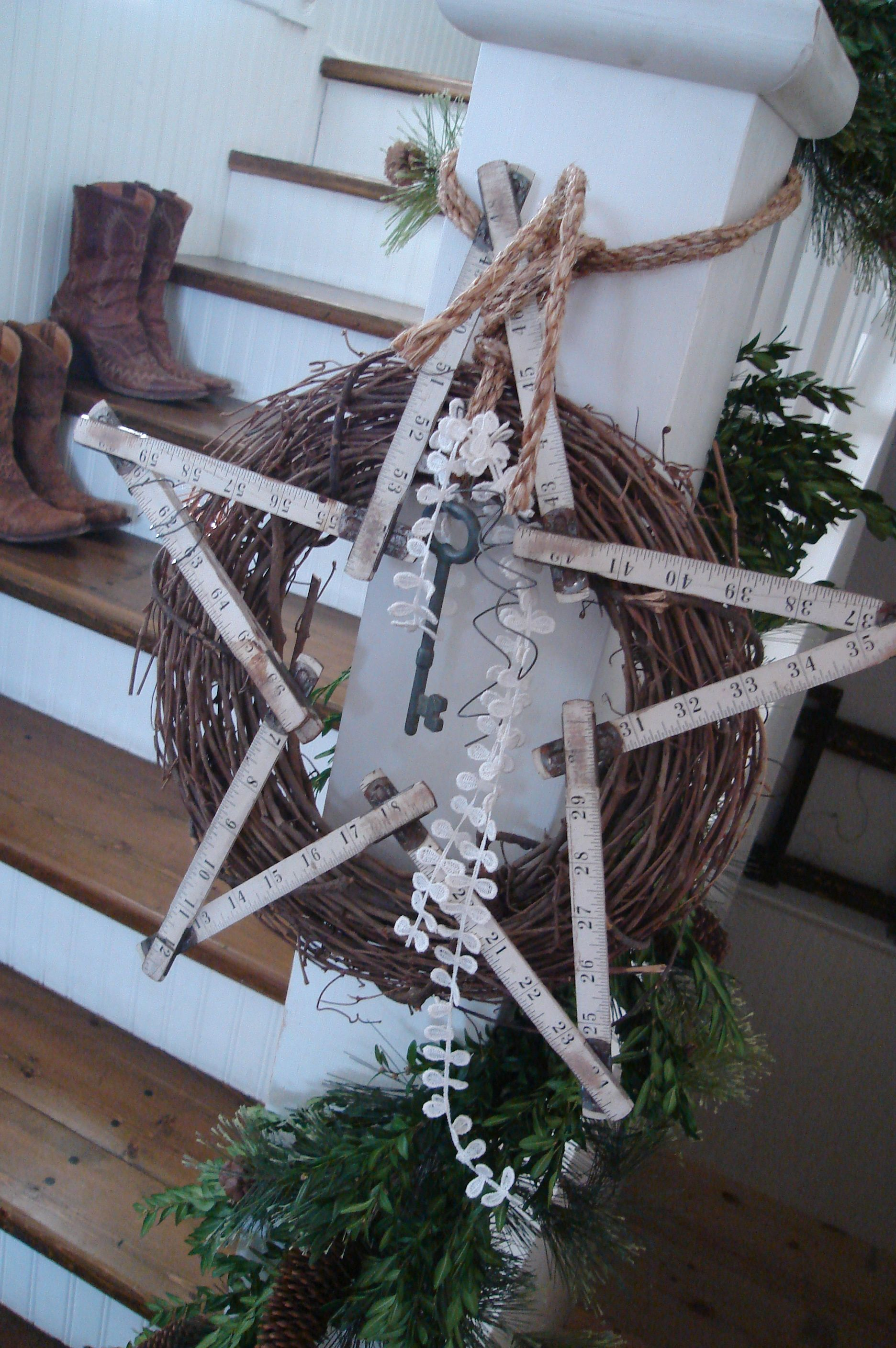 Prim Wreath...grapevine wreath with vintage folding yardstick star, distressed tag, and twine...