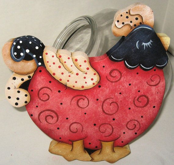 Whimsy ChickensWhimsy Kitchen GiftsCookie Jar LidsTable by jusbcuz